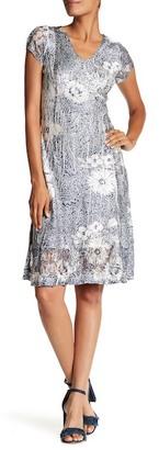 KOMAROV Short Sleeve V-Neck Flared Dress $272 thestylecure.com