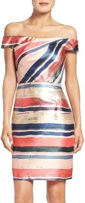 Women's Adrianna Papell Gold Leaf Jacquard Sheath Dress $249 thestylecure.com
