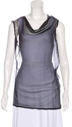Donna Karan Sleeveless Sheer Top Blue Sleeveless Sheer Top