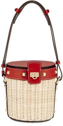 Salvatore Ferragamo Gancini wicker bucket bag