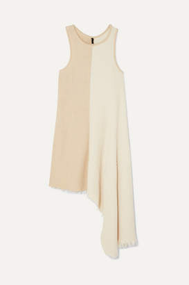 Unravel Project Asymmetric Frayed Ribbed Cotton And Cashmere-blend Top - Cream