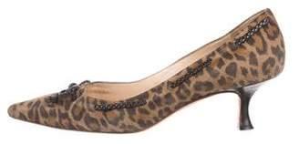 Manolo Blahnik Leopard Pointed-Toe Pumps