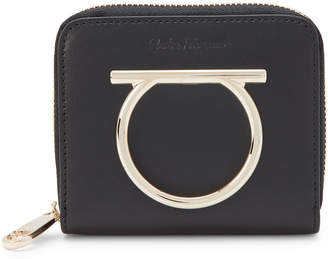 Salvatore Ferragamo Black Gancini Hardware Mini Zip-Around Wallet