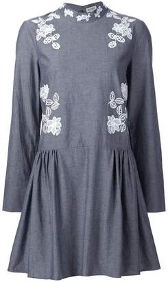 Suno macrame insert chambray dress