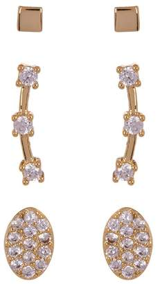 Nordstrom Rack CZ Pave Mixed Stud Earrings - Set of 3