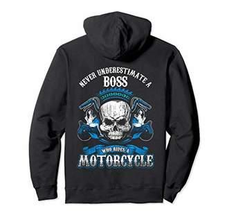 Boss Biker Hoodie Never Underestimate Motorcycle Skull