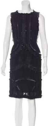 Oscar de la Renta Embellished Wool Dress