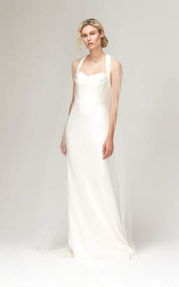 Savannah Miller Astrid Cowl Neck Halter Gown With Train