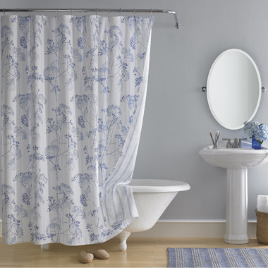 """Bed Bath & Beyond Real Simple® Fresh Floral 72"""" x 72"""" Fabric Shower Curtain"""