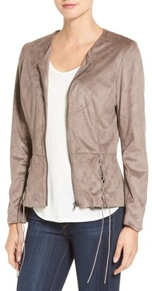Women's Kut From The Kloth Lace-Up Peplum Faux Suede Jacket $128 thestylecure.com