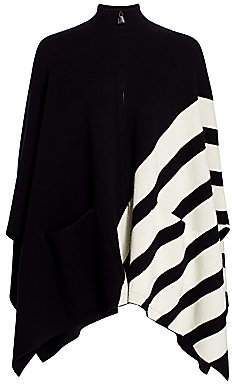 Akris Women's Reversible Cashmere Intarsia Stripe Cape