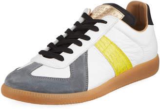 Maison Margiela Replica Men's Contrast-Trim Leather & Suede Low-Top Sneakers