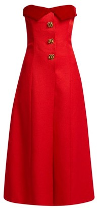 Rebecca De Ravenel Strapless Silk And Wool Blend Midi Dress - Womens - Red