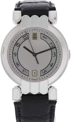 Harry Winston MQ34PL Platinum & Leather Automatic 36mm Men's Watch