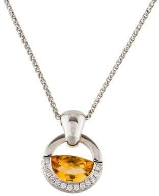 Movado 18K Citrine & Diamond Pendant Necklace