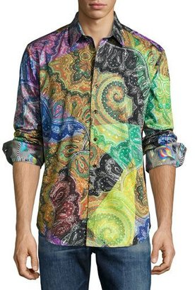 Robert Graham Cosmic Rays Paisley Sport Shirt, Multicolor $248 thestylecure.com
