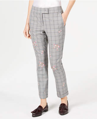 Marella Gong Plaid Embroidered Pants