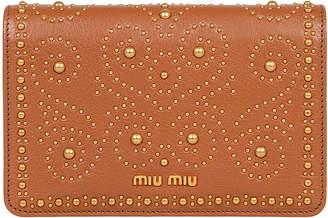 Miu Miu (ミュウミュウ) - MIU MIU レザー スタッズ チェーンショルダー バッグ ブラウン
