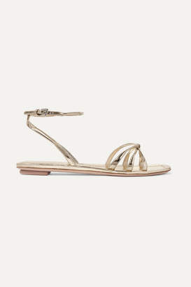 Prada Metallic Leather Sandals - Gold