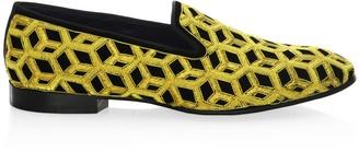 Louis Leeman Embroidered Velvet Slip-On Shoes