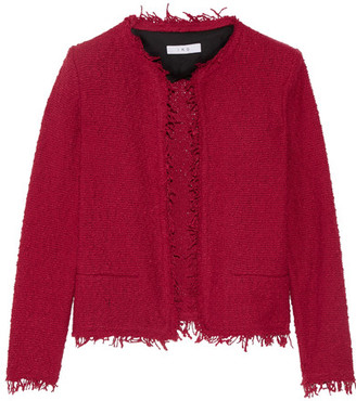 IRO - Shavani Frayed Cotton-blend Bouclé Jacket - Claret $380 thestylecure.com