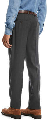 Brunello Cucinelli Men's Wool Twist Flat-Front Pants