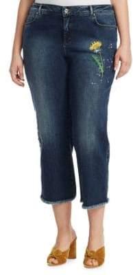 Marina Rinaldi Marina Rinaldi, Plus Size Embroidered Cropped Jeans