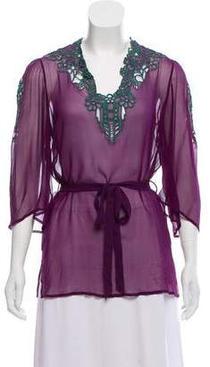 Matthew Williamson Embroidered Silk Top w/ Tags