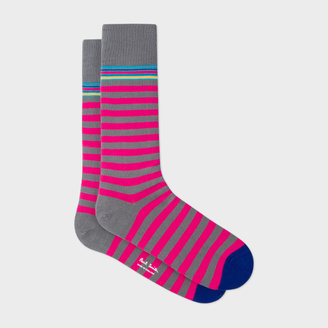 Men's Grey And Fuchsia Two Stripe Socks $30 thestylecure.com