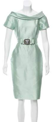 Redux Charles Chang-Lima Satin Belted Dress