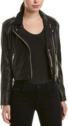 Doma Studded Leather Biker Crop Jacket