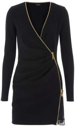La Perla Daily Looks Black Short Cool-Wool Zip Dress With Leavers Lace Panel