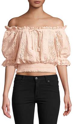 Saylor Greer Off-The-Shoulder Crochet Cotton Top