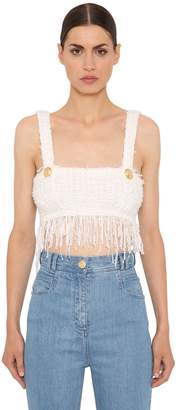 Balmain Fringed Tweed Crop Top