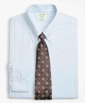 Brooks Brothers Stretch Milano Slim-Fit Dress Shirt, Non-Iron Royal Oxford Alternating Stripe