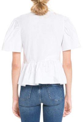 ENGLISH FACTORY Crewneck Short-Sleeve Cotton T-Shirt w/ Poplin Combo