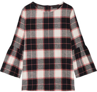 Hatch Madeline Plaid Cotton-fleece Top - Black