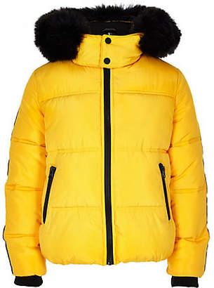 River Island Boys yellow faux fur hooded puffer jacket