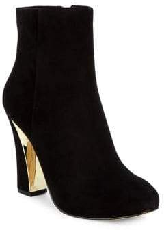 Karl Lagerfeld Paris Charliz Plated Suede Booties