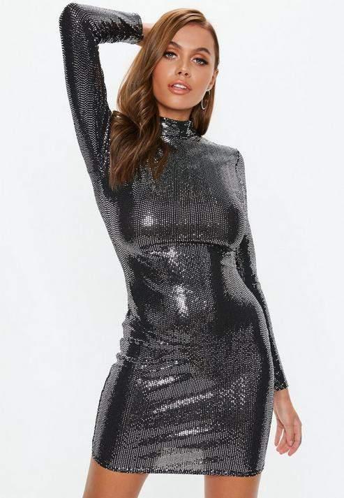 Black High Neck Sequin Mini Dress, Gunmetal