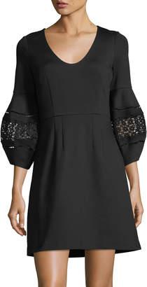 Trina Turk Tropical Ponte Lace-Sleeve Dress