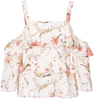 Rachel Zoe cold-shoulder floral top