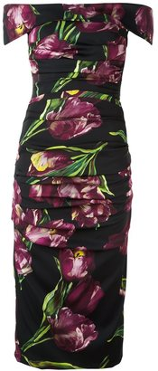 Dolce & Gabbana tulip print ruched dress $2,070 thestylecure.com