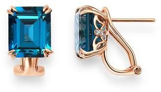 Bloomingdale's London Blue Topaz & Diamond Drop Earrings in 14K Rose Gold - 100% Exclusive