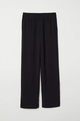 H&M Wide-leg Pants - Bright blue/floral - Women