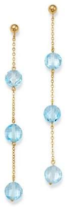 Bloomingdale's Blue Topaz Three-Stone Drop Earrings in 14K Yellow Gold - 100% Exclusive