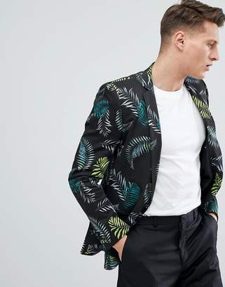 Asos DESIGN Skinny Blazer In Cotton With Palm Print