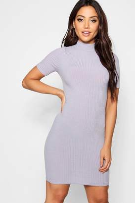 boohoo High Neck Rib Knit Bodycon Mini Dress