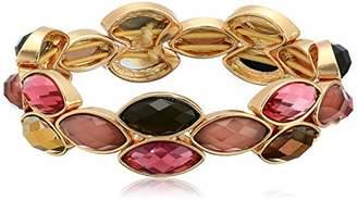 Anne Klein Women's Gold Tone Stone Stretch Bracelet