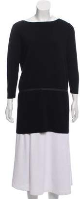 Cos Leather-Accented Three-Quarter Sleeve Sweater